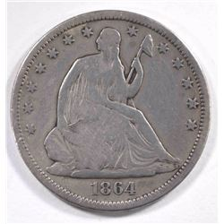 1864-S SEATED HALF DOLLAR, VG/FINE