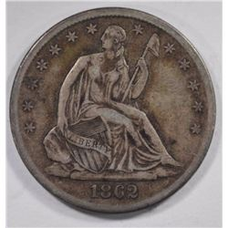 1862-S SEATED HALF DOLLAR, XF