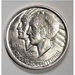 1937-S ARKANSAS COMMEM HALF DOLLAR, GEM BU