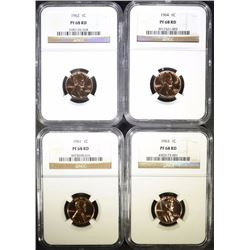 1961, 62, 63, 64 LINCOLN CENTS, NGC PF-68RD