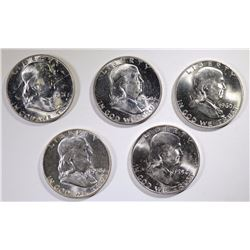 5 - GEM BU FRANKLIN HALF DOLLARS;