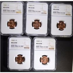 5 - 1968-S LINCOLN CENTS NGC MS66 RD