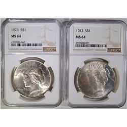 2- 1923 PEACE SILVER DOLLAR, NGC MS64