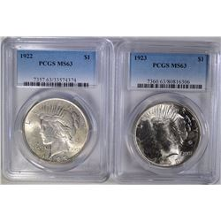 1922 & 1923 PEACE SILVER DOLLARS, PCGS, MS63