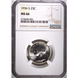 1936-S WASHINGTON QUARTER, NGC MS-66 SUPERB