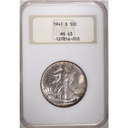 1941-S WALKING LIBERTY HALF DOLLAR, NGC MS-63