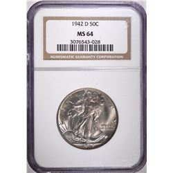 1942-D WALKING LIBERTY HALF DOLLAR, NGC MS-64