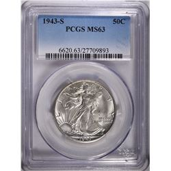 1943-S WALKING LIBERTY HALF DOLLAR, PCGS MS-63