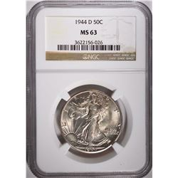 1944-D WALKING LIBERTY HALF DOLLAR, NGC MS-63