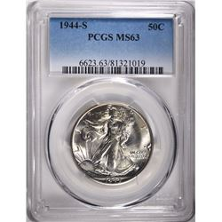 1944-S WALKING LIBERTY HALF DOLLAR, PCGS MS-63
