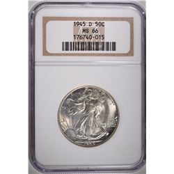 1945-D WALKING LIBERTY HALF DOLLAR, NGC MS-66