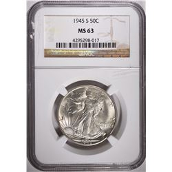 1945-S WALKING LIBERTY HALF DOLLAR, NGC MS-63