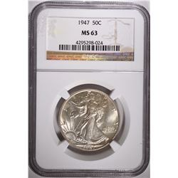 1947 WALKING LIBERTY HALF DOLLAR, NGC MS-63