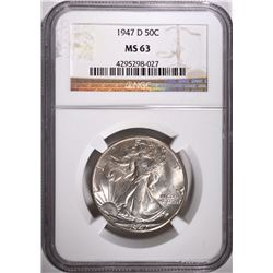 1947-D WALKING LIBERTY HALF DOLLAR, NGC MS-63