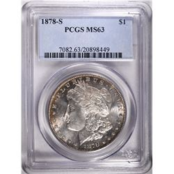 1878-S MORGAN DOLLAR, PCGS MS-63