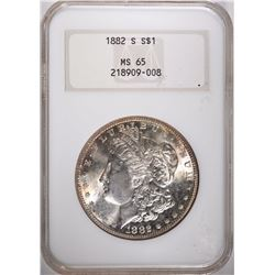 1882-S MORGAN SILVER DOLLAR, NGC MS-65 GEM