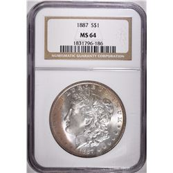 1887 MORGAN DOLLAR, NGC MS-64