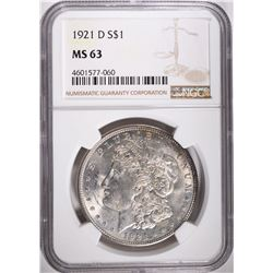 1921-D MORGAN DOLLAR, NGC MS-63