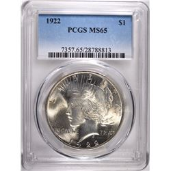1922 PEACE DOLLAR, PCGS MS-65 GEM