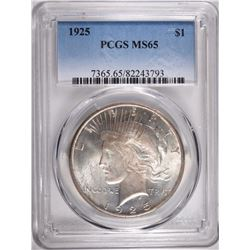 1925 PEACE DOLLAR, PCGS MS-65 GEM