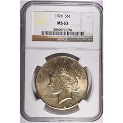 1926 PEACE DOLLAR, NGC MS-63 NICE