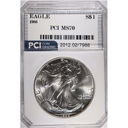 1986 SILVER EAGLE PCI, PERFECT GEM BU