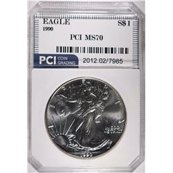 1990 SILVER EAGLE PCI, PERFECT GEM BU