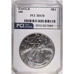 1998 SILVER EAGLE PCI, PERFECT GEM BU
