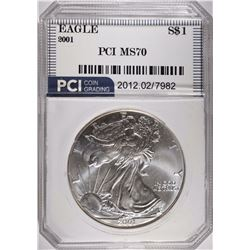 2001 SILVER EAGLE PCI, PERFECT GEM BU
