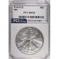 2004 SILVER EAGLE PCI, PERFECT GEM BU