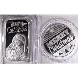 MERRY CHRISTMAS ONE Oz .999 SILVER ROUND & BAR