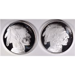 2-ONE OUNCE .999 SILVER ROUNDS BUFFALO/INDIAN