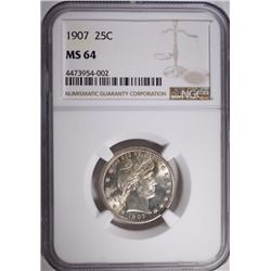 1907 BARBER QUARTER NGC MS 64