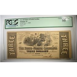 1863 $3 STATE OF NC PCGS 55