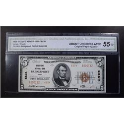 1929 $5 TY2 NATIONAL CURRENCY CGA 55-OPQ
