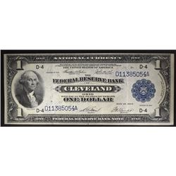 1918 $1 FEDERAL RESERVE BANK OF CLEVELAND OH. AU