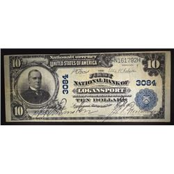 1902 $10 FIRST NATIONAL BANK OF LOGANSPORT IN. VF