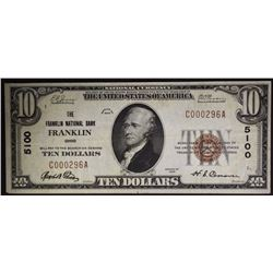 1929 $10 FRANKLIN NATIONAL BANK OHIO XF