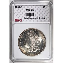 1891-S MORGAN DOLLAR RNG GEM BU