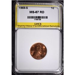 1969-S LINCOLN CENT LVCS SUPERB GEM BU