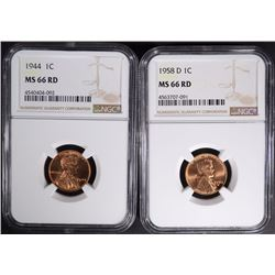 1944 & 1958-D LINCOLN CENTS NGC MS66 RD