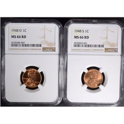 1948-D & 1948-S LINCOLN CENTS NGC MS66 RD