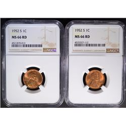 2 - 1952-S LINCOLN CENTS NGC MS66 RD
