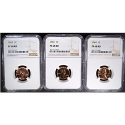 1962, 63, & 64 LINCOLN CENTS, NGC PF-68 RD