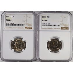 1942-D,54 JEFFERSON NICKELS NGC MS-66 BETTER DATES
