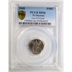 1949 FRENCH OCEANIA 50C PCGS SP-66