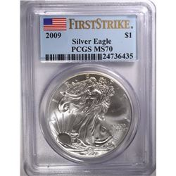 2009 AMERICAN SILVER EAGLE, PCGS MS-70 1st STRIKE