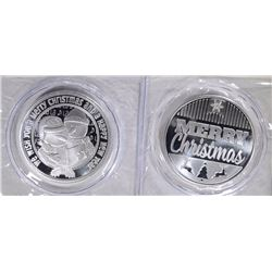 2-DIFFERENT ONE OUNCE .999 SILVER HOLIDAY ROUNDS