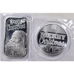 ONE OUNCE .999 SILVER CHRISTMAS ROUND & BAR