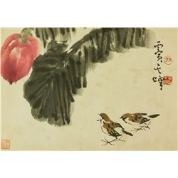 Sun Qifeng b.1920 Chinese Watercolour Sparrows